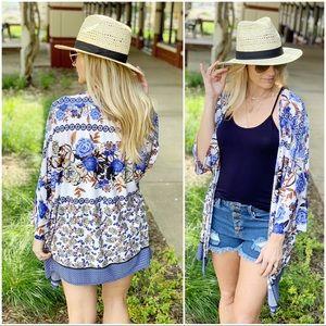 Infinity Raine Sweaters - Blue floral kimono